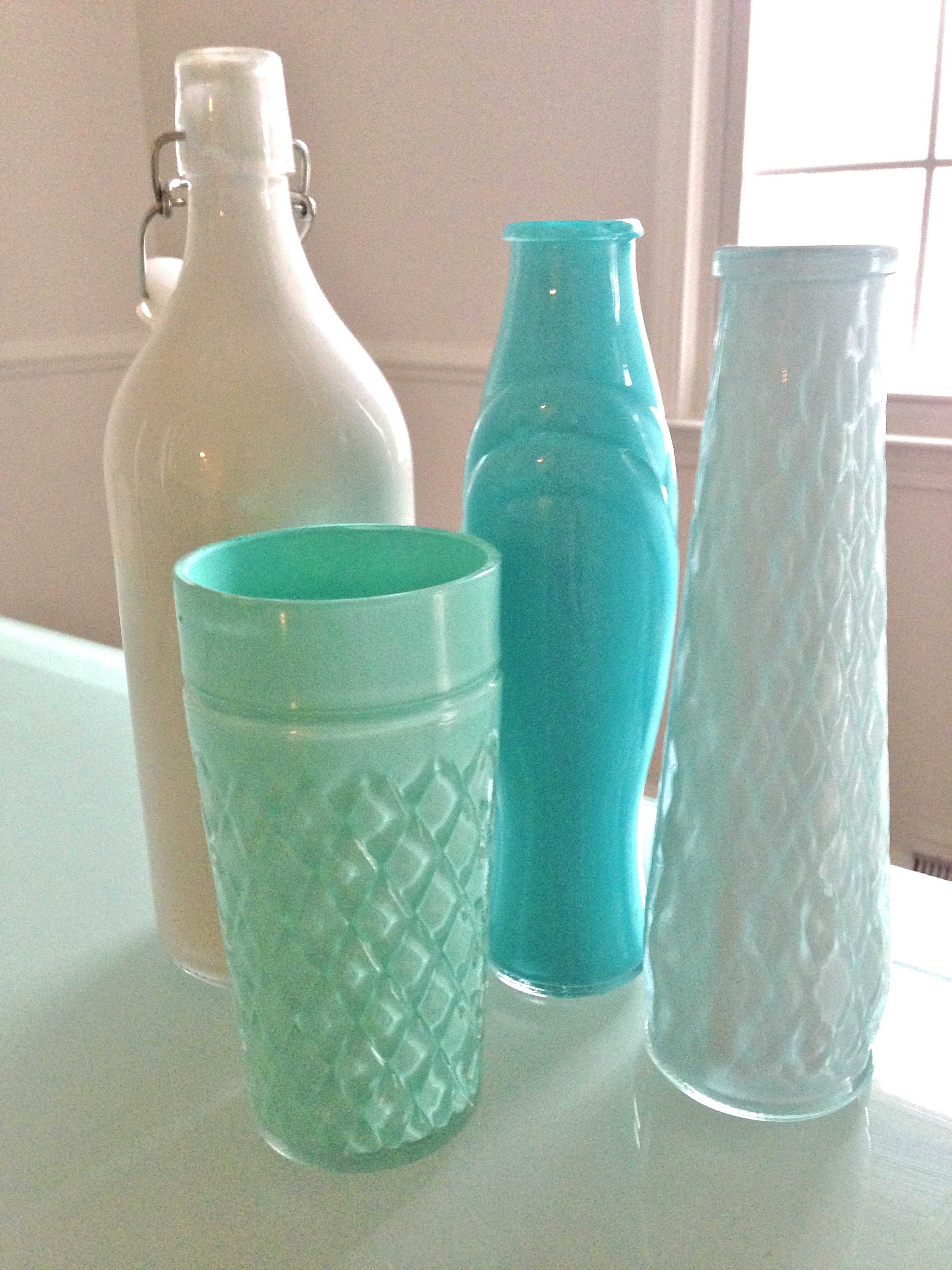 DIY colored glass bottles | mandy odle